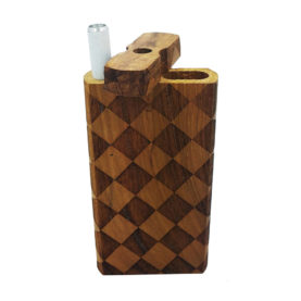 """Wood One Hitter Box with Laser Etched Checkerboard Theme and FREE 3"""" Reusable Aluminum Cigarette"""