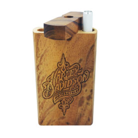 """One Hitter Box with Laser Etched Harley Davidson Theme and FREE 3"""" Reusable Aluminum Cigarette"""