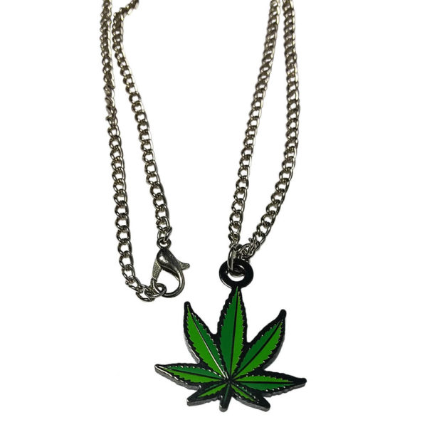weed leaf chain jewelry necklace with charm sample