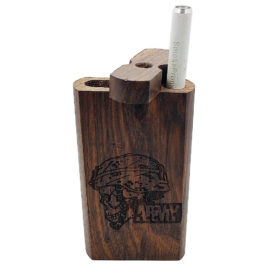 """Wood One Hitter Box with Laser Etched Love Theme and FREE 3"""" Reusable Aluminum Cigarette"""